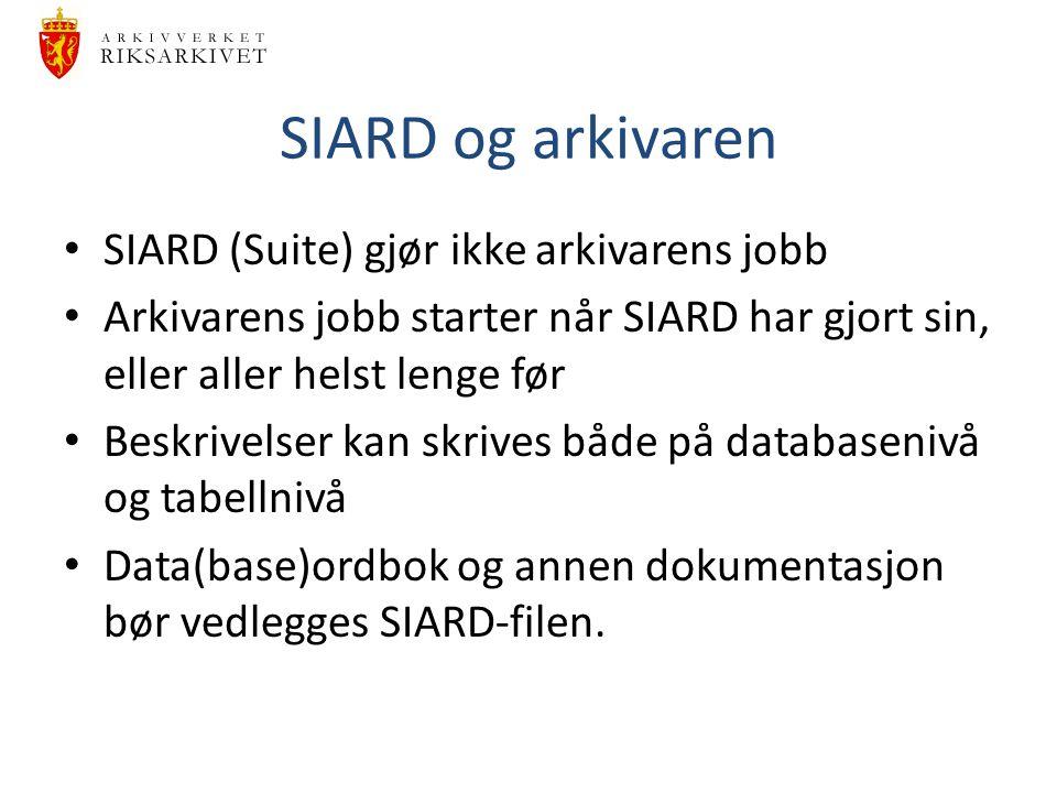 SIARD og arkivaren SIARD (Suite) gjør ikke arkivarens jobb Arkivarens jobb starter når SIARD har gjort sin, eller aller helst lenge før Beskrivelser k