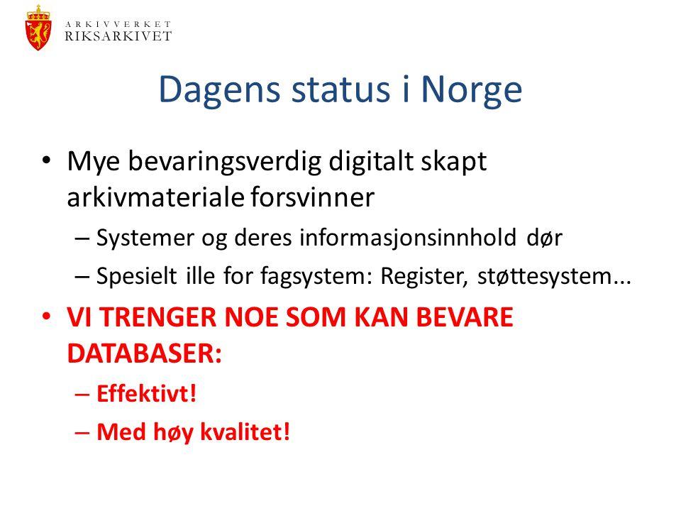 Dagens status i Norge Mye bevaringsverdig digitalt skapt arkivmateriale forsvinner – Systemer og deres informasjonsinnhold dør – Spesielt ille for fag