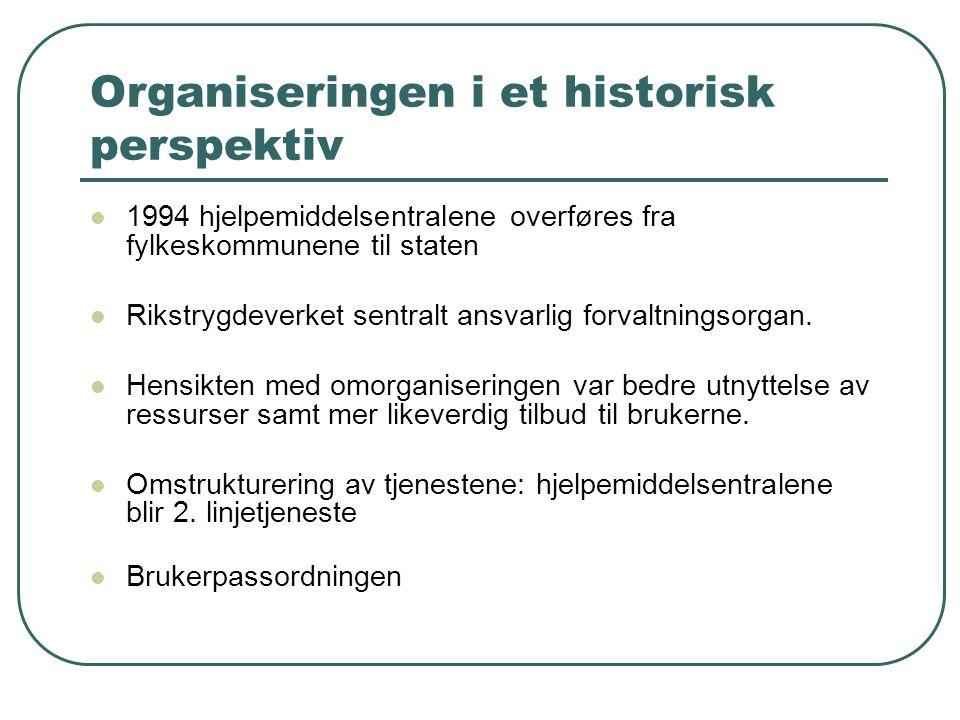 Organiseringen i et historisk perspektiv 1994 hjelpemiddelsentralene overføres fra fylkeskommunene til staten Rikstrygdeverket sentralt ansvarlig forvaltningsorgan.