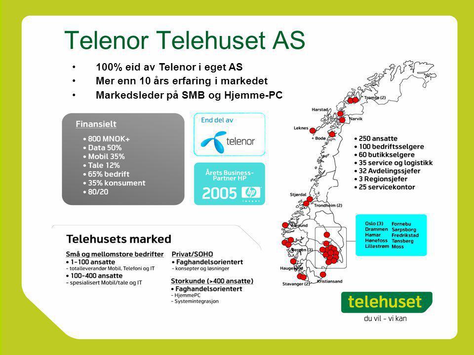 Telenor Telehuset AS 100% eid av Telenor i eget AS Mer enn 10 års erfaring i markedet Markedsleder på SMB og Hjemme-PC