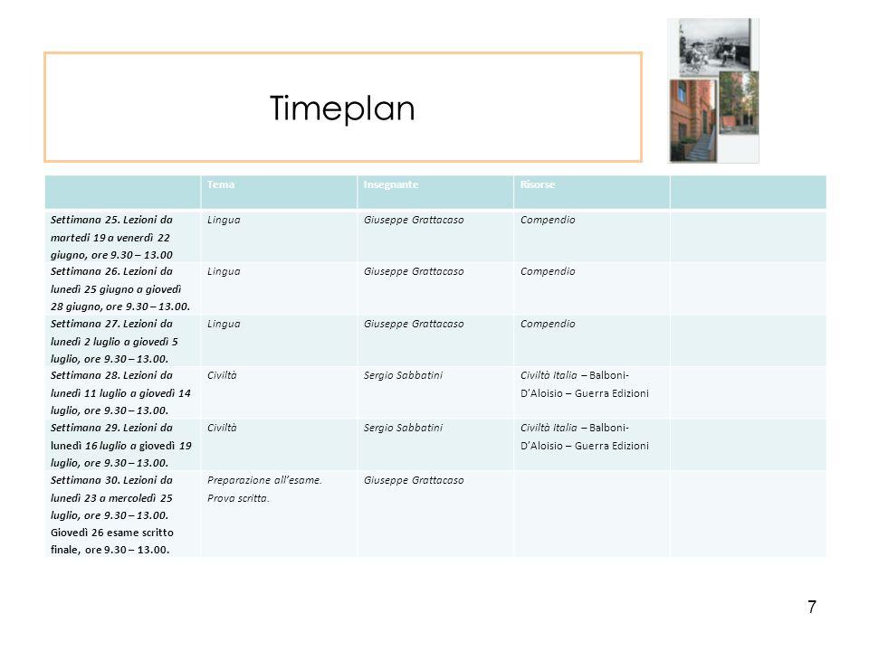Timeplan TemaInsegnanteRisorse Settimana 25.