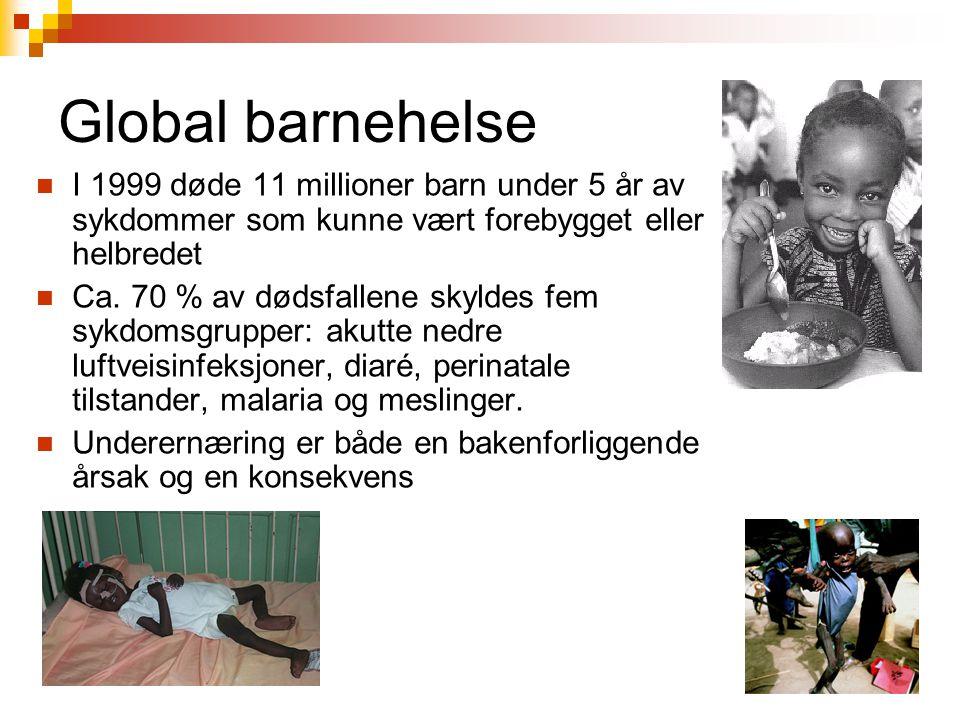 Global barnehelse I 1999 døde 11 millioner barn under 5 år av sykdommer som kunne vært forebygget eller helbredet Ca. 70 % av dødsfallene skyldes fem