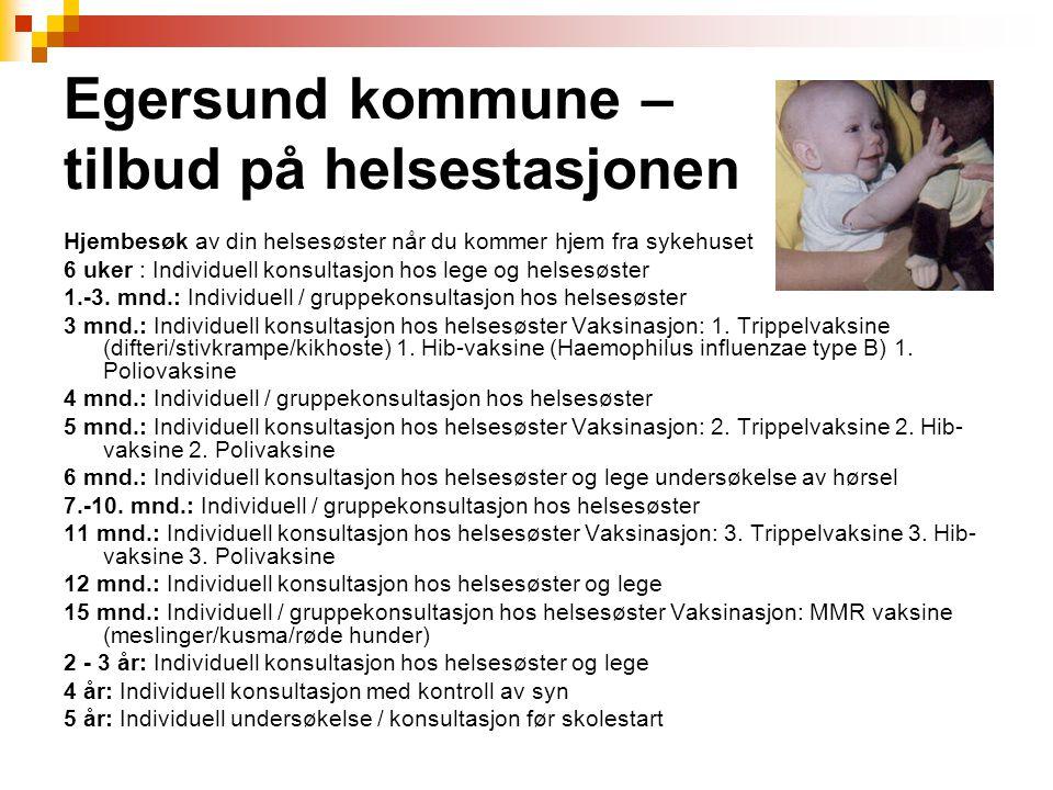 Egersund kommune – tilbud på helsestasjonen Hjembesøk av din helsesøster når du kommer hjem fra sykehuset 6 uker : Individuell konsultasjon hos lege o