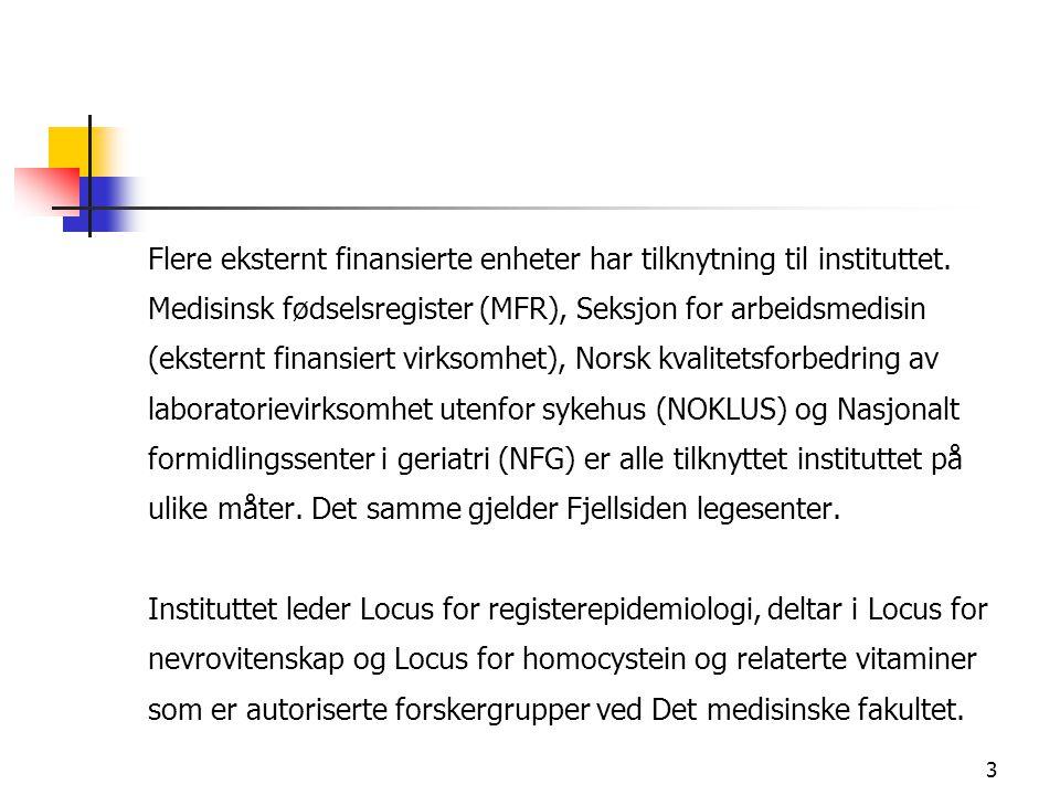 3 Flere eksternt finansierte enheter har tilknytning til instituttet. Medisinsk fødselsregister (MFR), Seksjon for arbeidsmedisin (eksternt finansiert