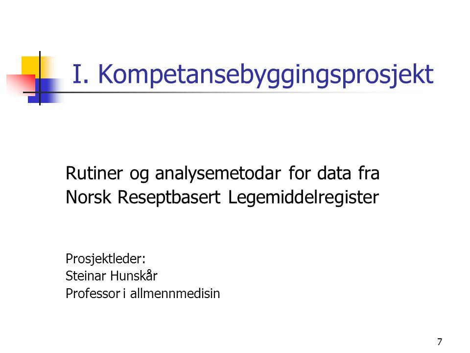 7 I. Kompetansebyggingsprosjekt Rutiner og analysemetodar for data fra Norsk Reseptbasert Legemiddelregister Prosjektleder: Steinar Hunskår Professor
