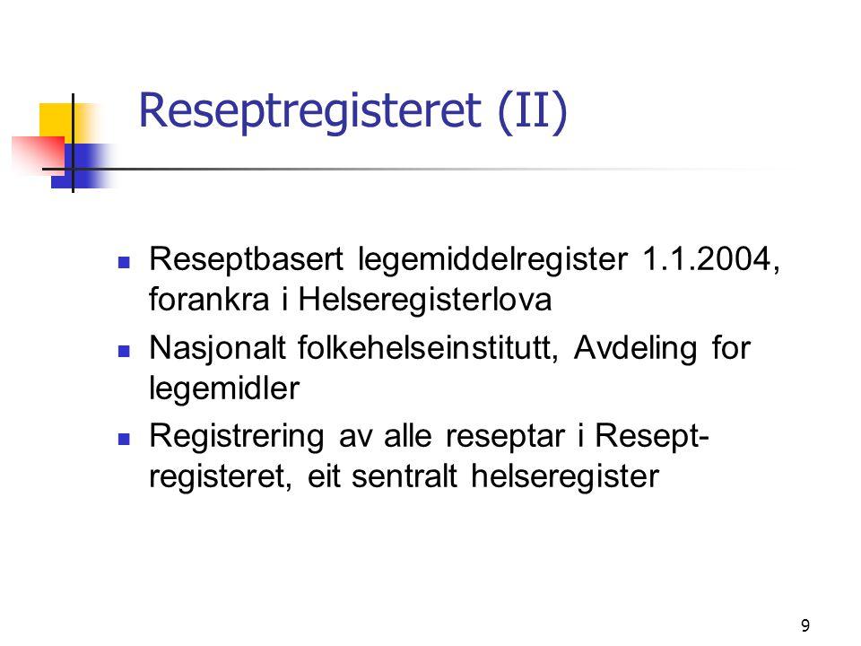 9 Reseptregisteret (II) Reseptbasert legemiddelregister 1.1.2004, forankra i Helseregisterlova Nasjonalt folkehelseinstitutt, Avdeling for legemidler