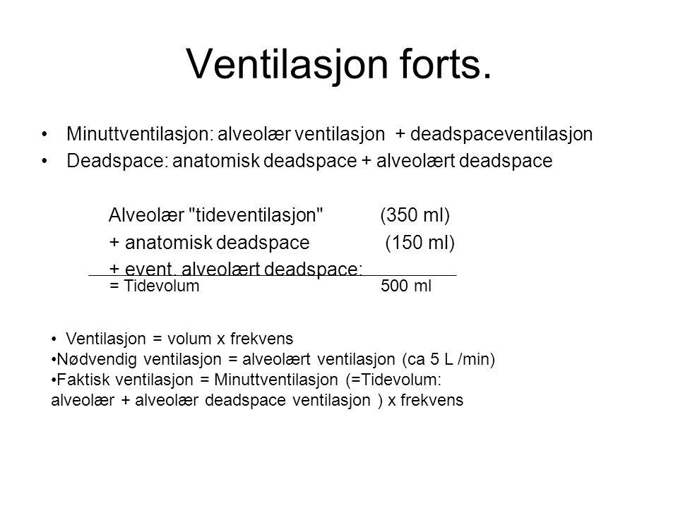 Ventilasjon forts. Minuttventilasjon: alveolær ventilasjon + deadspaceventilasjon Deadspace: anatomisk deadspace + alveolært deadspace Alveolær