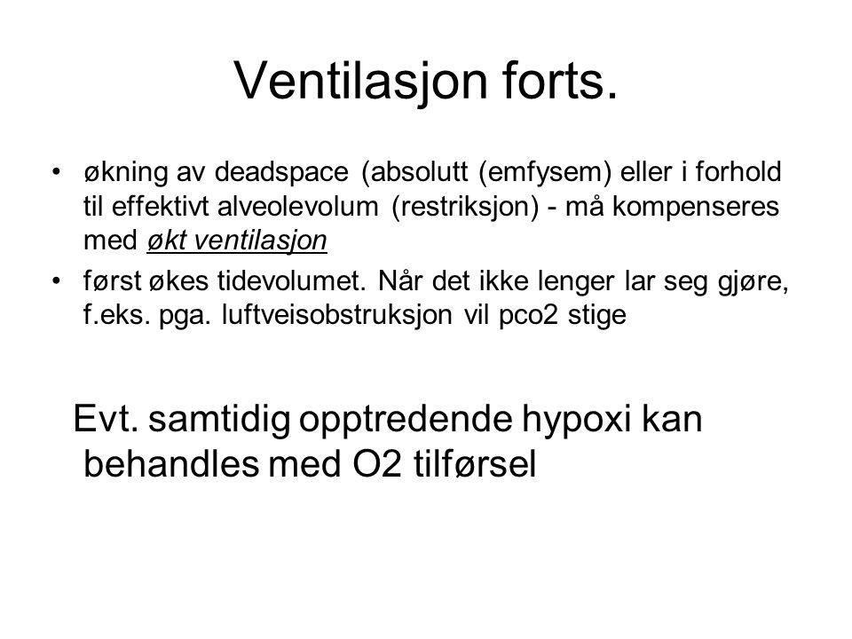 Ventilasjon forts. økning av deadspace (absolutt (emfysem) eller i forhold til effektivt alveolevolum (restriksjon) - må kompenseres med økt ventilasj