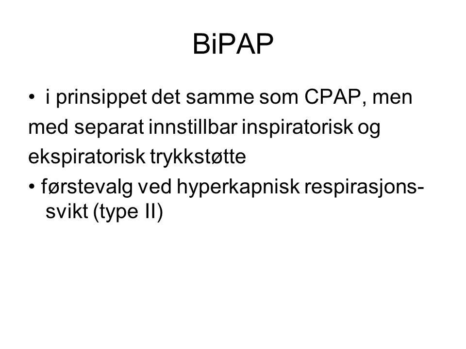 i prinsippet det samme som CPAP, men med separat innstillbar inspiratorisk og ekspiratorisk trykkstøtte førstevalg ved hyperkapnisk respirasjons- svik