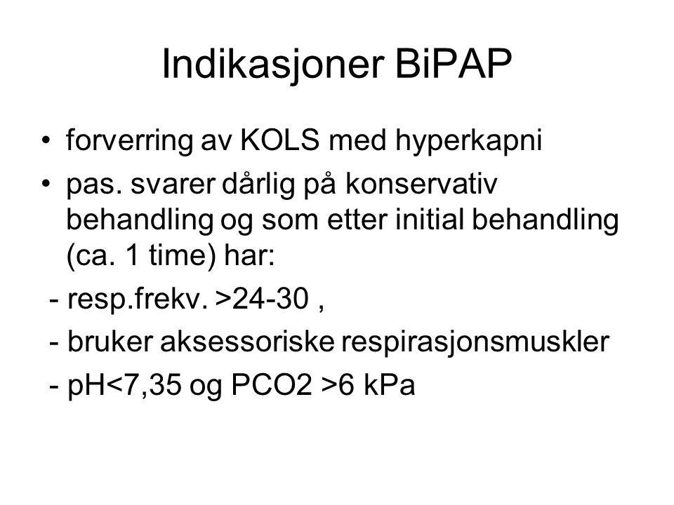 Indikasjoner BiPAP forverring av KOLS med hyperkapni pas. svarer dårlig på konservativ behandling og som etter initial behandling (ca. 1 time) har: -