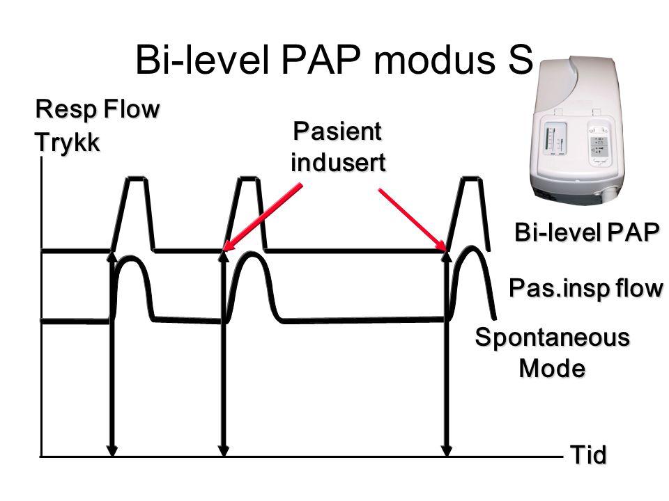 Bi-level PAP modus S Tid Resp Flow Pas.insp flow Bi-level PAP SpontaneousMode Trykk Pasientindusert