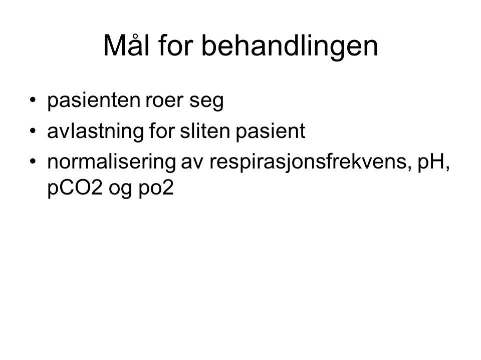 Mål for behandlingen pasienten roer seg avlastning for sliten pasient normalisering av respirasjonsfrekvens, pH, pCO2 og po2