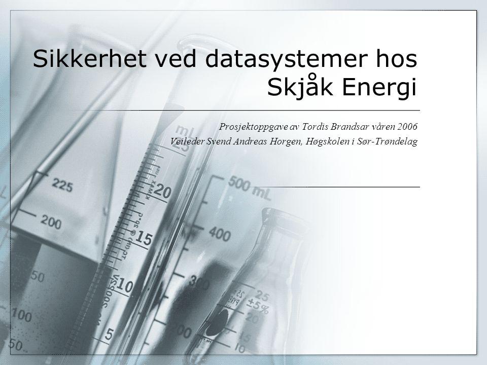 Sikkerhet ved datasystemer hos Skjåk Energi Prosjektoppgave av Tordis Brandsar våren 2006 Veileder Svend Andreas Horgen, Høgskolen i Sør-Trøndelag