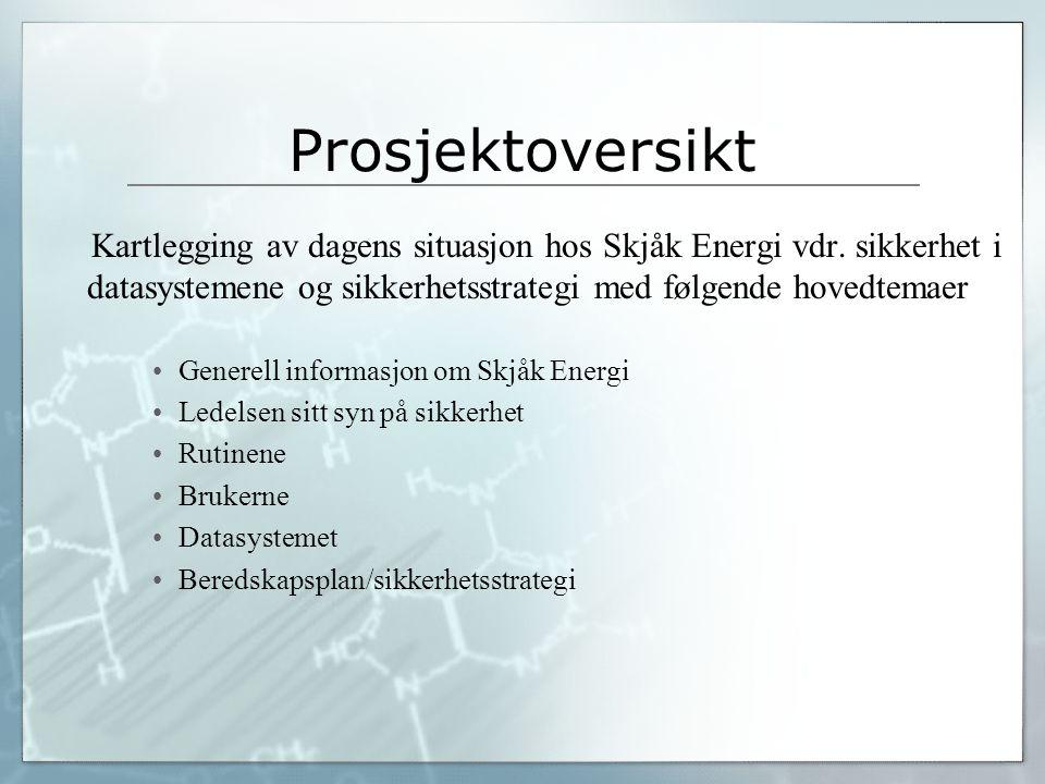 Prosjektoversikt Kartlegging av dagens situasjon hos Skjåk Energi vdr. sikkerhet i datasystemene og sikkerhetsstrategi med følgende hovedtemaer Genere