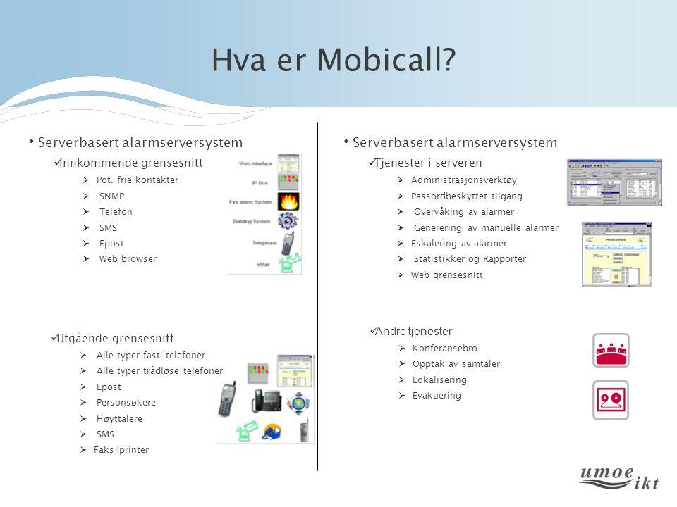 Hva er Mobicall? Serverbasert alarmserversystem Innkommende grensesnitt  Pot. frie kontakter  SNMP  Telefon  SMS  Epost  Web browser Serverbaser
