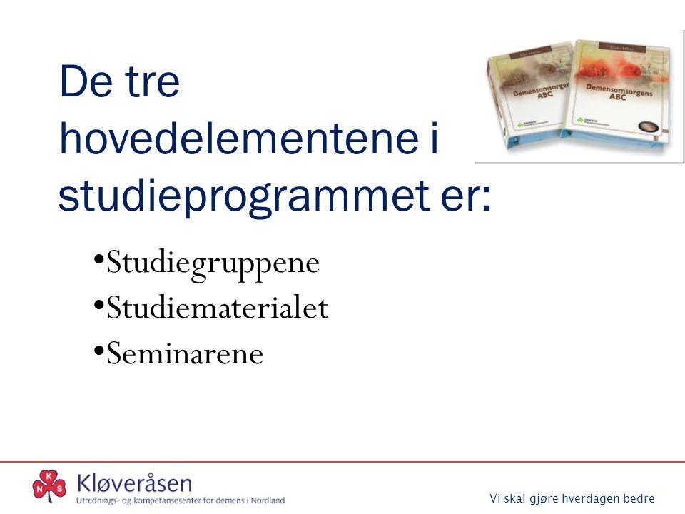 Vi skal gjøre hverdagen bedre De tre hovedelementene i studieprogrammet er: Studiegruppene Studiematerialet Seminarene
