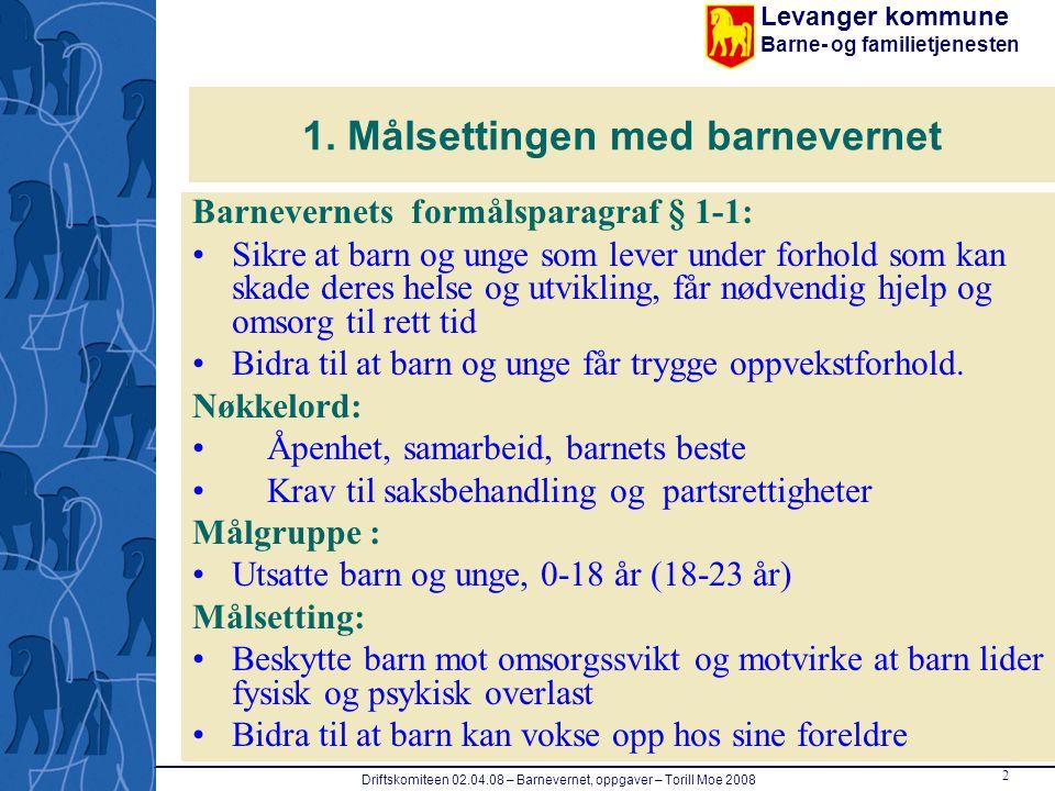 Levanger kommune Barne- og familietjenesten 2 Driftskomiteen 02.04.08 – Barnevernet, oppgaver – Torill Moe 2008 1. Målsettingen med barnevernet Barnev