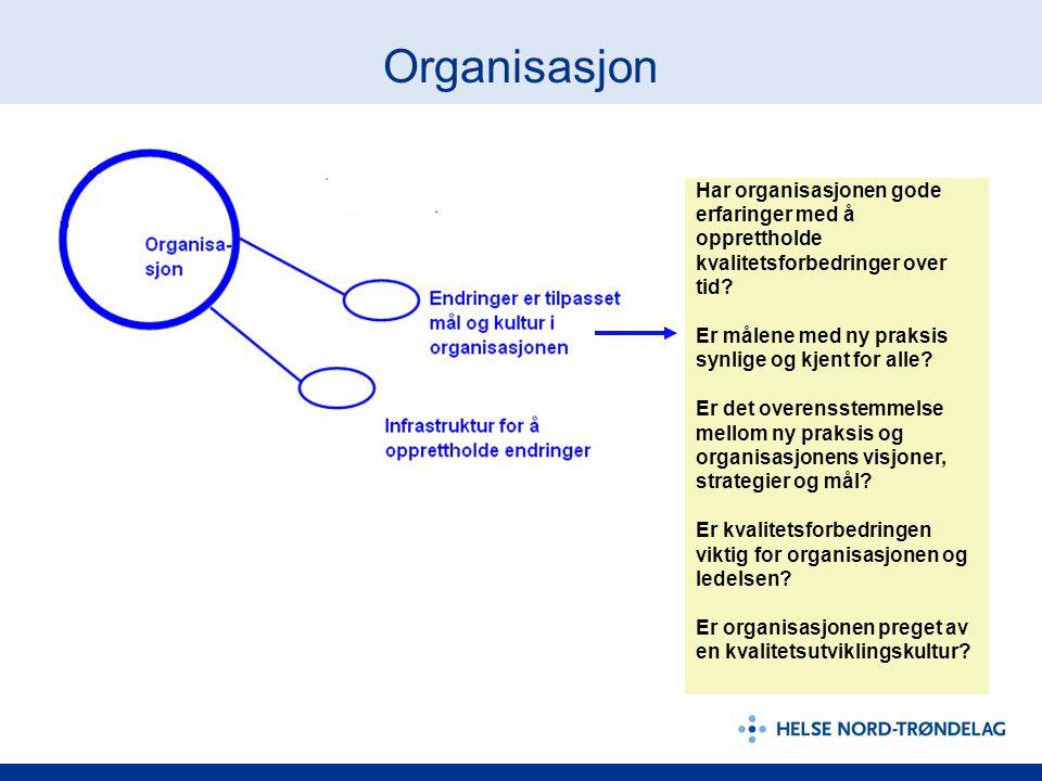 Organisasjon Har organisasjonen gode erfaringer med å opprettholde kvalitetsforbedringer over tid? Er målene med ny praksis synlige og kjent for alle?