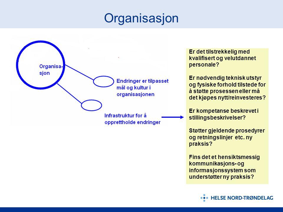 Organisasjon Er det tilstrekkelig med kvalifisert og velutdannet personale? Er nødvendig teknisk utstyr og fysiske forhold tilstede for å støtte prose
