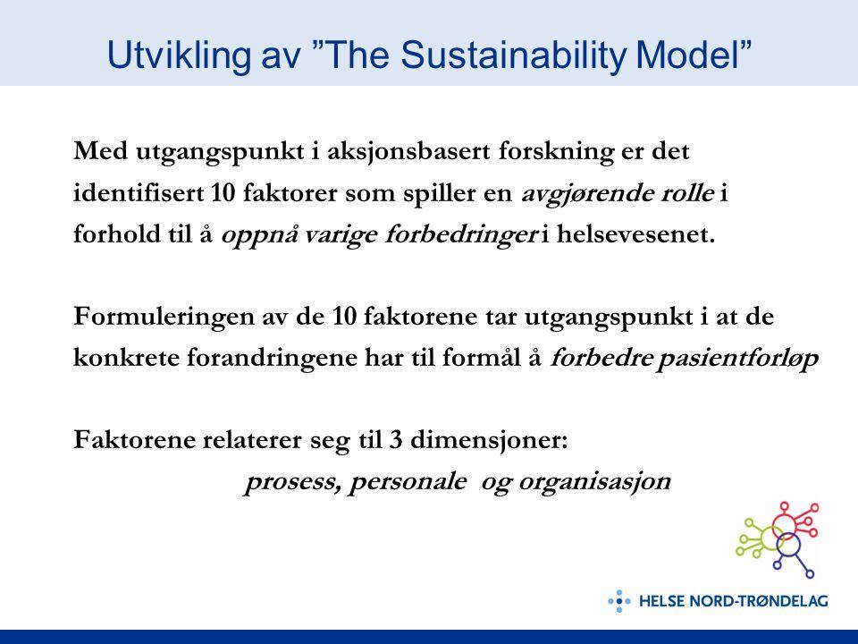 """Utvikling av """"The Sustainability Model"""" Med utgangspunkt i aksjonsbasert forskning er det identifisert 10 faktorer som spiller en avgjørende rolle i f"""