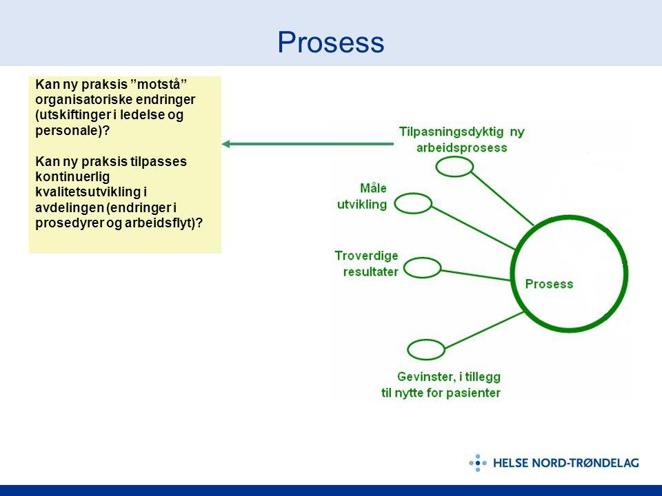 """Prosess Kan ny praksis """"motstå"""" organisatoriske endringer (utskiftinger i ledelse og personale)? Kan ny praksis tilpasses kontinuerlig kvalitetsutvikl"""