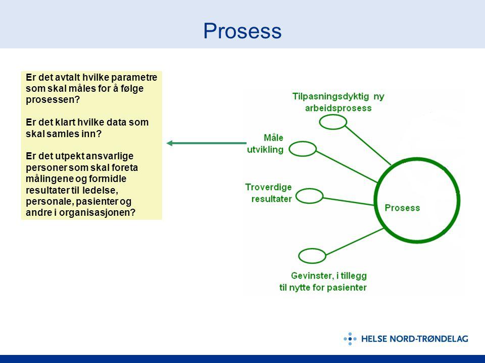 Prosess Er det avtalt hvilke parametre som skal måles for å følge prosessen? Er det klart hvilke data som skal samles inn? Er det utpekt ansvarlige pe
