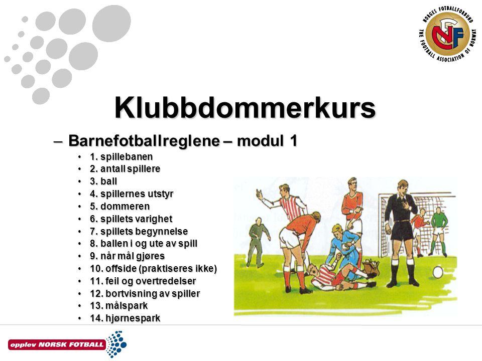 Klubbdommerkurs –Barnefotballreglene – modul 1 1. spillebanen1. spillebanen 2. antall spillere2. antall spillere 3. ball3. ball 4. spillernes utstyr4.