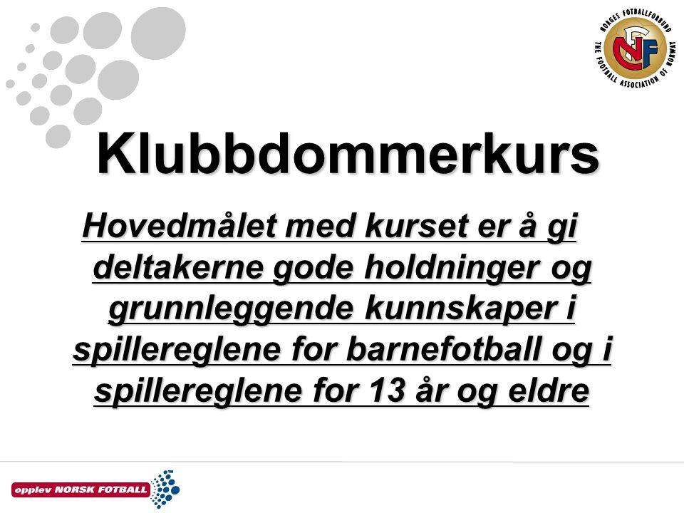 Klubbdommerkurs –Barnefotballreglene – modul 1 1.spillebanen1.