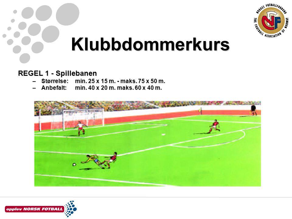 Klubbdommerkurs REGEL 1 - Spillebanen –Størrelse: min. 25 x 15 m. - maks. 75 x 50 m. –Anbefalt:min. 40 x 20 m. maks. 60 x 40 m.