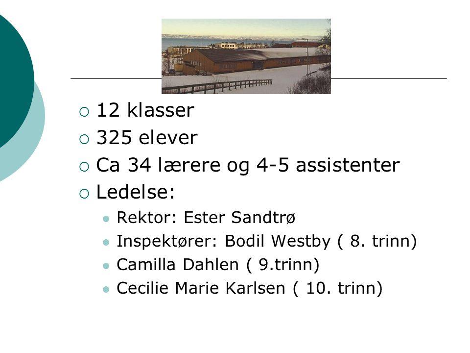  12 klasser  325 elever  Ca 34 lærere og 4-5 assistenter  Ledelse: Rektor: Ester Sandtrø Inspektører: Bodil Westby ( 8. trinn) Camilla Dahlen ( 9.