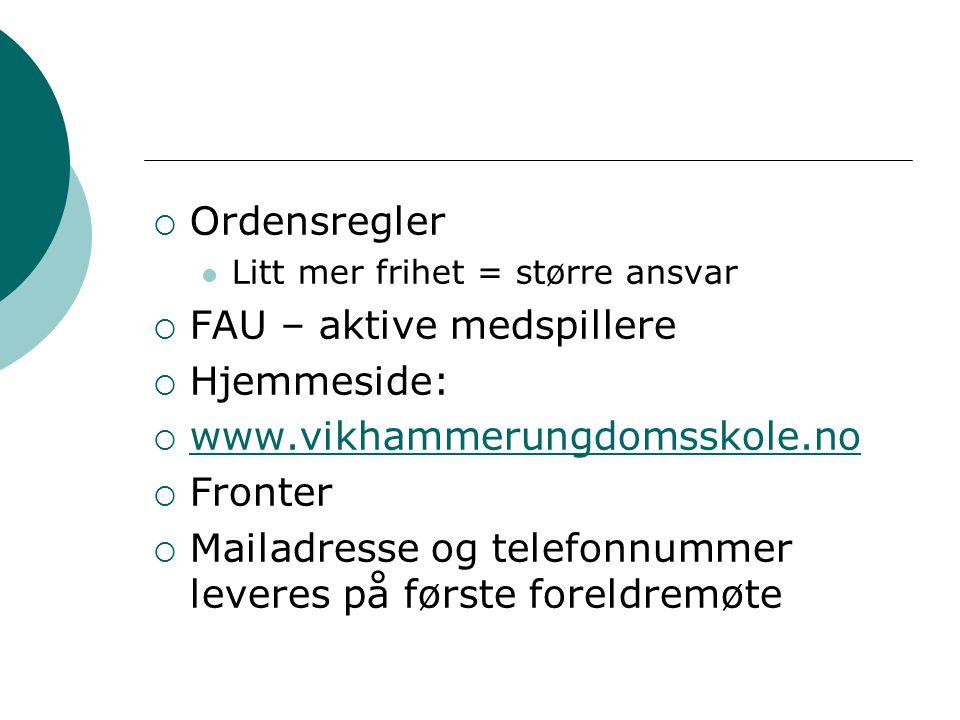  Ordensregler Litt mer frihet = større ansvar  FAU – aktive medspillere  Hjemmeside:  www.vikhammerungdomsskole.no www.vikhammerungdomsskole.no 