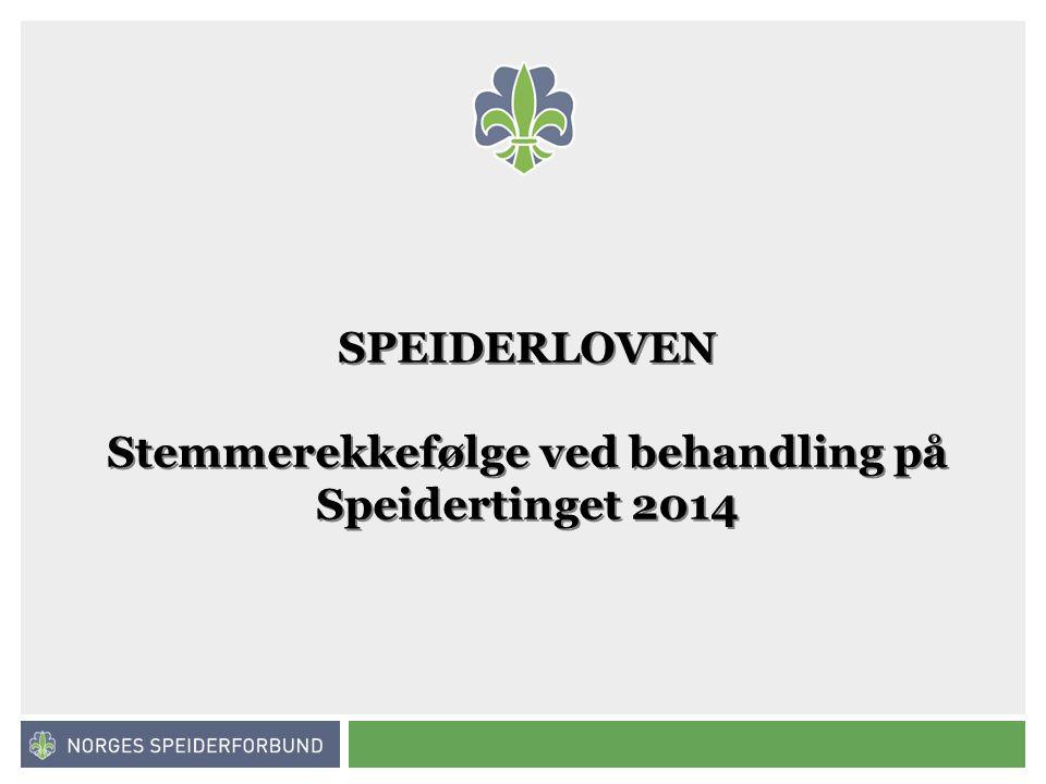 Norges speiderforbund SPEIDERLOVEN Stemmerekkefølge ved behandling på Speidertinget 2014