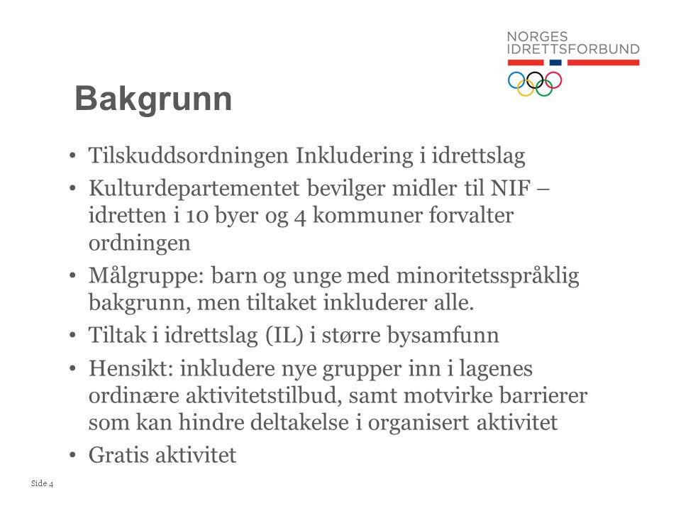 Side 4 Tilskuddsordningen Inkludering i idrettslag Kulturdepartementet bevilger midler til NIF – idretten i 10 byer og 4 kommuner forvalter ordningen