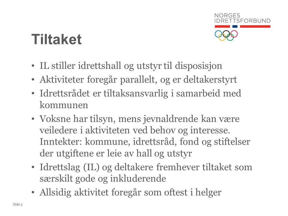 Side 5 IL stiller idrettshall og utstyr til disposisjon Aktiviteter foregår parallelt, og er deltakerstyrt Idrettsrådet er tiltaksansvarlig i samarbei
