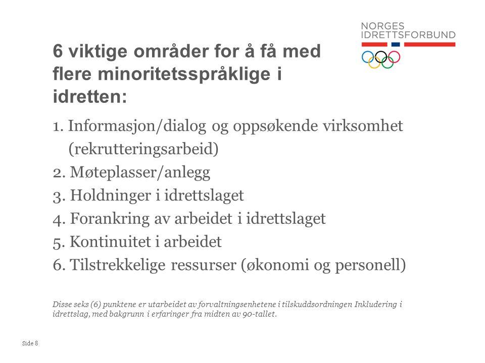 Side 8 1. Informasjon/dialog og oppsøkende virksomhet (rekrutteringsarbeid) 2. Møteplasser/anlegg 3. Holdninger i idrettslaget 4. Forankring av arbeid