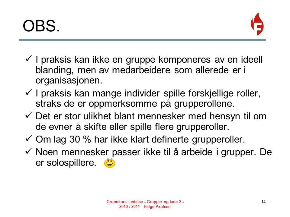 Grunnkurs Ledelse - Grupper og kom 2 - 2010 / 2011 Helge Paulsen 14 OBS.