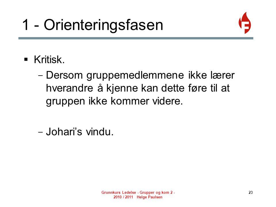 Grunnkurs Ledelse - Grupper og kom 2 - 2010 / 2011 Helge Paulsen 23 1 - Orienteringsfasen  Kritisk.