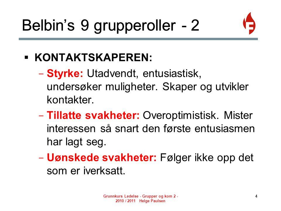 Grunnkurs Ledelse - Grupper og kom 2 - 2010 / 2011 Helge Paulsen 5 Belbin's 9 grupperoller - 3  KOORDINATOREN: - Styrke: Moden, trygg, en god møteleder.