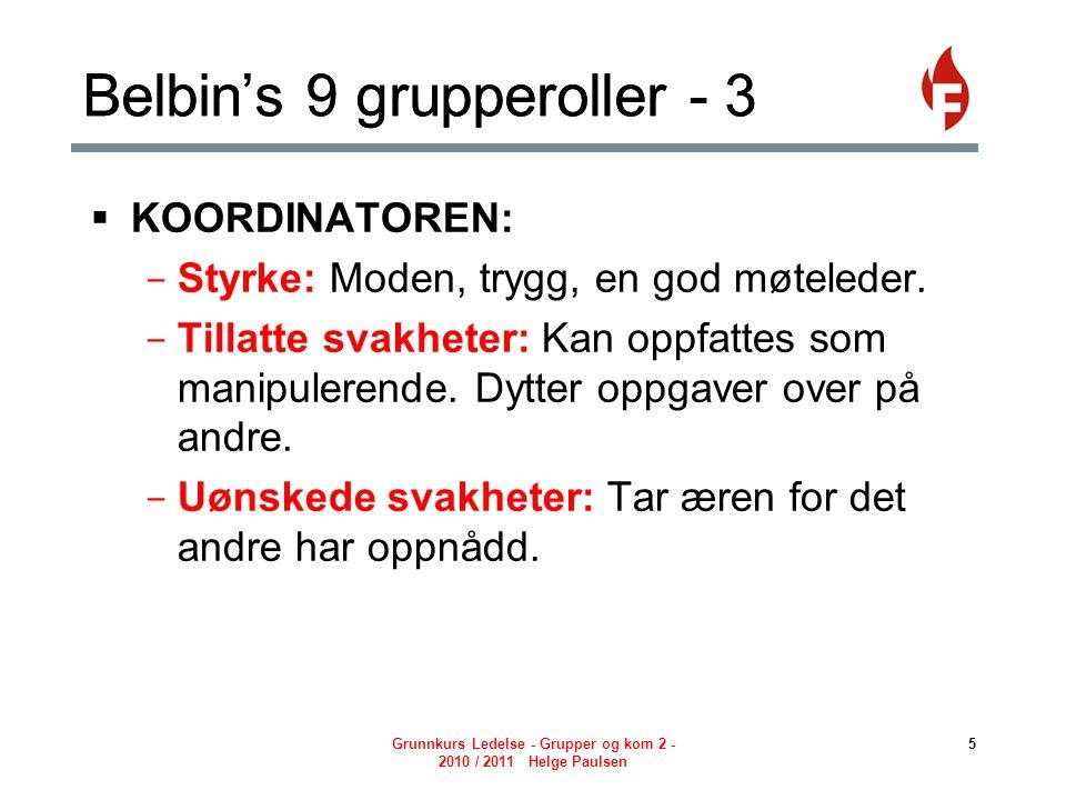 Grunnkurs Ledelse - Grupper og kom 2 - 2010 / 2011 Helge Paulsen 6 Belbin's 9 grupperoller - 4  PÅDRIVEREN: - Styrke: Utfordrende, dynamisk, trives under press.