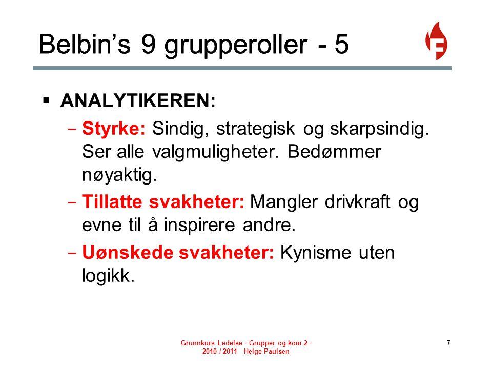 Grunnkurs Ledelse - Grupper og kom 2 - 2010 / 2011 Helge Paulsen 7 Belbin's 9 grupperoller - 5  ANALYTIKEREN: - Styrke: Sindig, strategisk og skarpsindig.