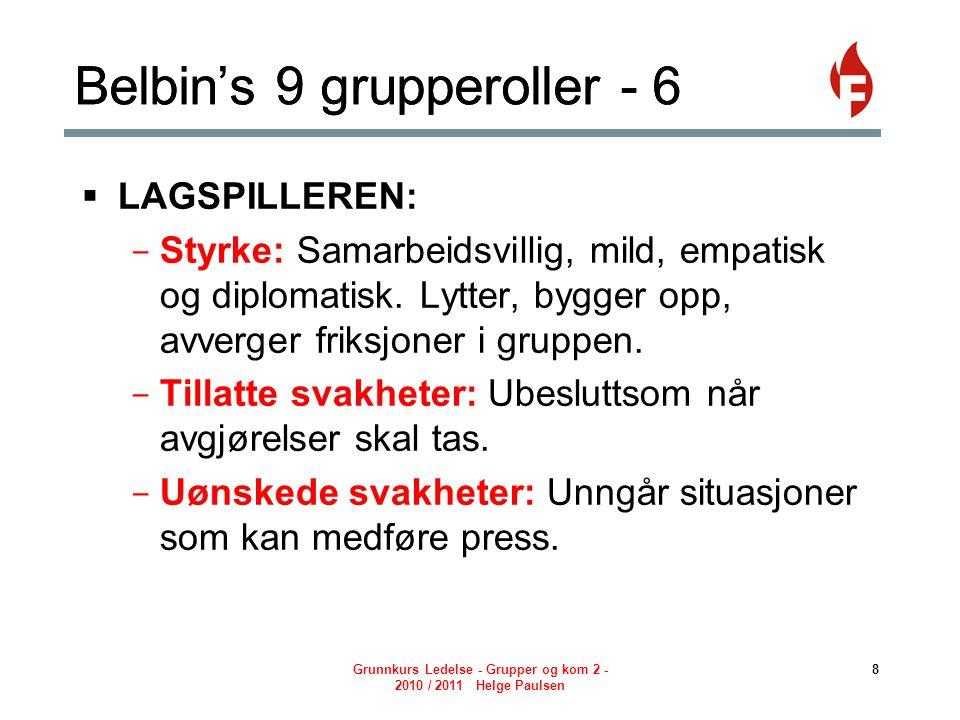 Grunnkurs Ledelse - Grupper og kom 2 - 2010 / 2011 Helge Paulsen 8 Belbin's 9 grupperoller - 6  LAGSPILLEREN: - Styrke: Samarbeidsvillig, mild, empatisk og diplomatisk.