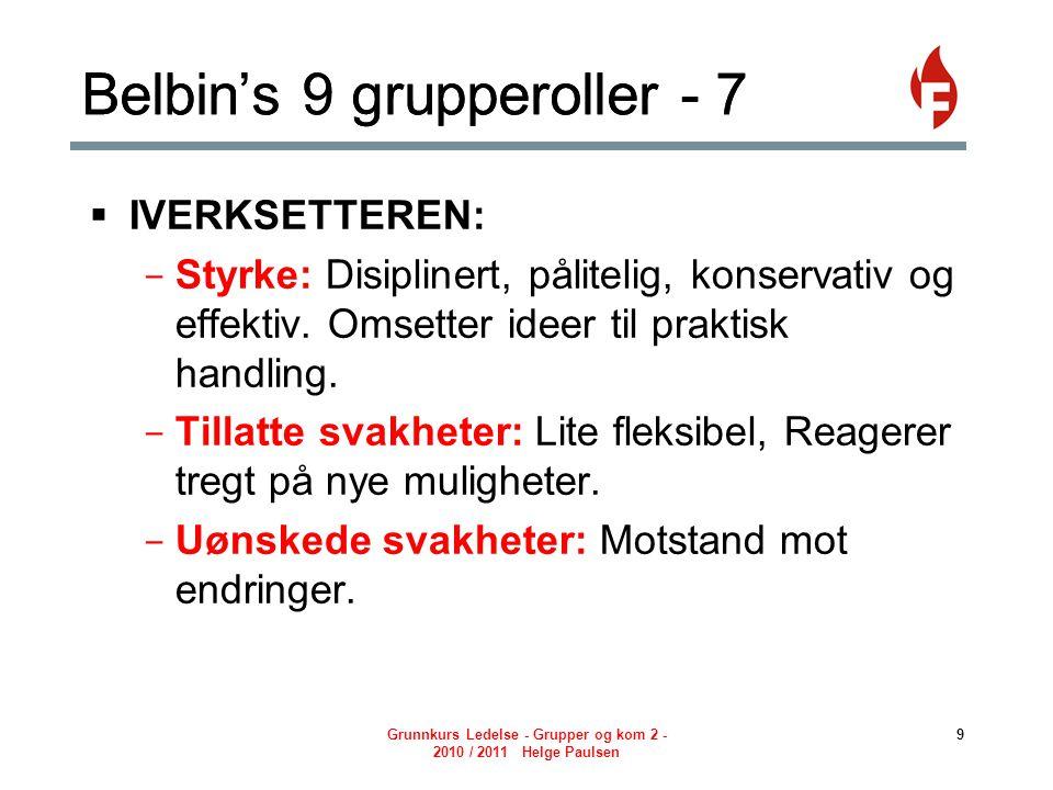 Grunnkurs Ledelse - Grupper og kom 2 - 2010 / 2011 Helge Paulsen 10 Belbin's 9 grupperoller - 8  AVSLUTTEREN: - Styrke: Samvittighetsfull, nøyaktig.