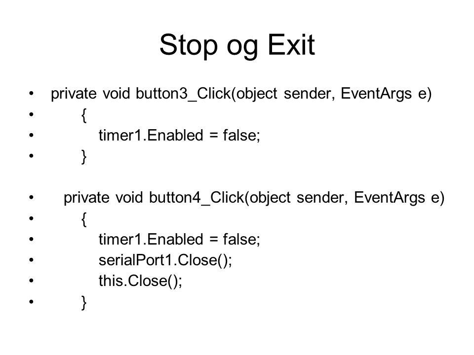 Timeren private void timer1_Tick(object sender, EventArgs e) { sendstrings(); } Det er sendstrings() som vi kaller opp hvert sekund.