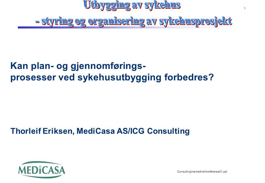 1 Consulting\marked\nshkonferanse01.ppt Kan plan- og gjennomførings- prosesser ved sykehusutbygging forbedres? Thorleif Eriksen, MediCasa AS/ICG Consu