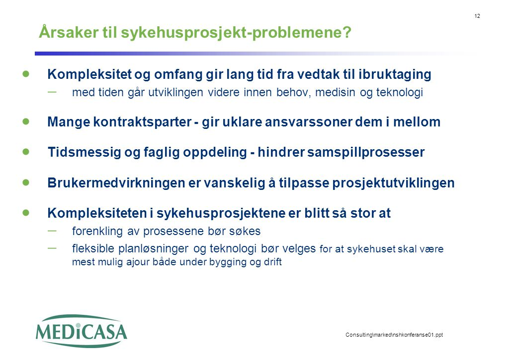 12 Consulting\marked\nshkonferanse01.ppt Årsaker til sykehusprosjekt-problemene?  Kompleksitet og omfang gir lang tid fra vedtak til ibruktaging  me