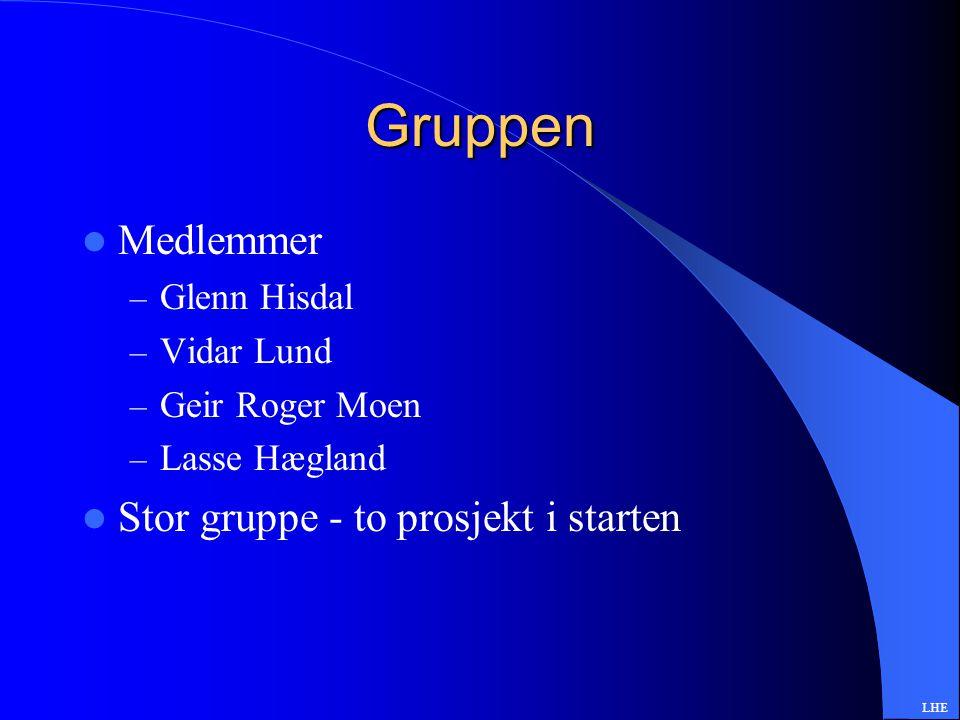 Gruppen Medlemmer – Glenn Hisdal – Vidar Lund – Geir Roger Moen – Lasse Hægland Stor gruppe - to prosjekt i starten LHE