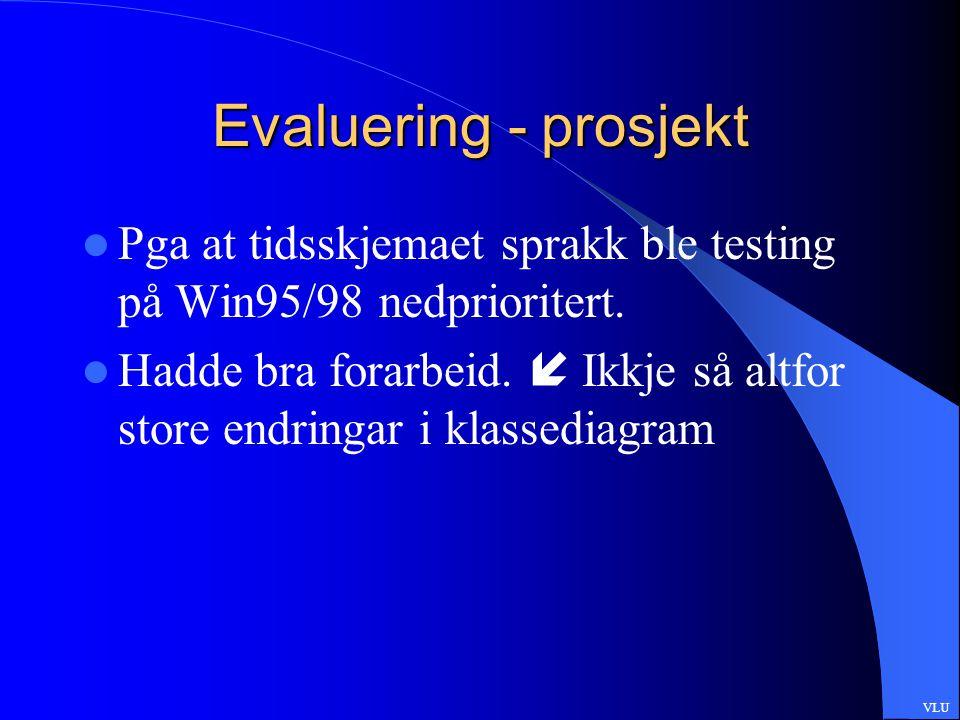 Evaluering - prosjekt Pga at tidsskjemaet sprakk ble testing på Win95/98 nedprioritert.