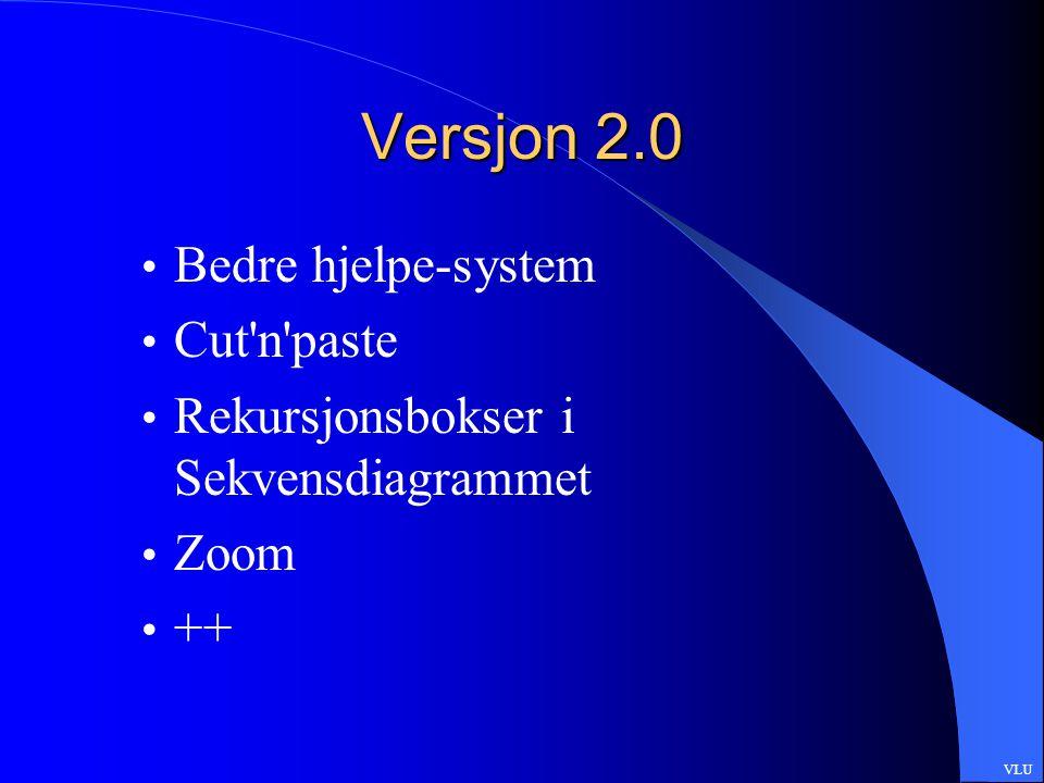 Versjon 2.0 Bedre hjelpe-system Cut n paste Rekursjonsbokser i Sekvensdiagrammet Zoom ++ VLU