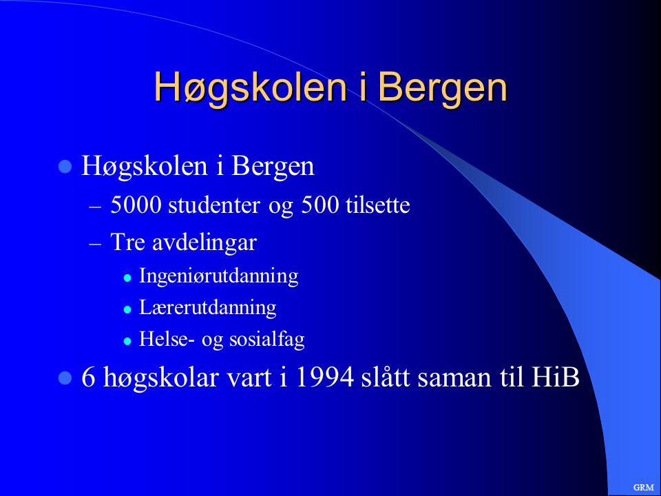 Høgskolen i Bergen – 5000 studenter og 500 tilsette – Tre avdelingar Ingeniørutdanning Lærerutdanning Helse- og sosialfag 6 høgskolar vart i 1994 slått saman til HiB GRM