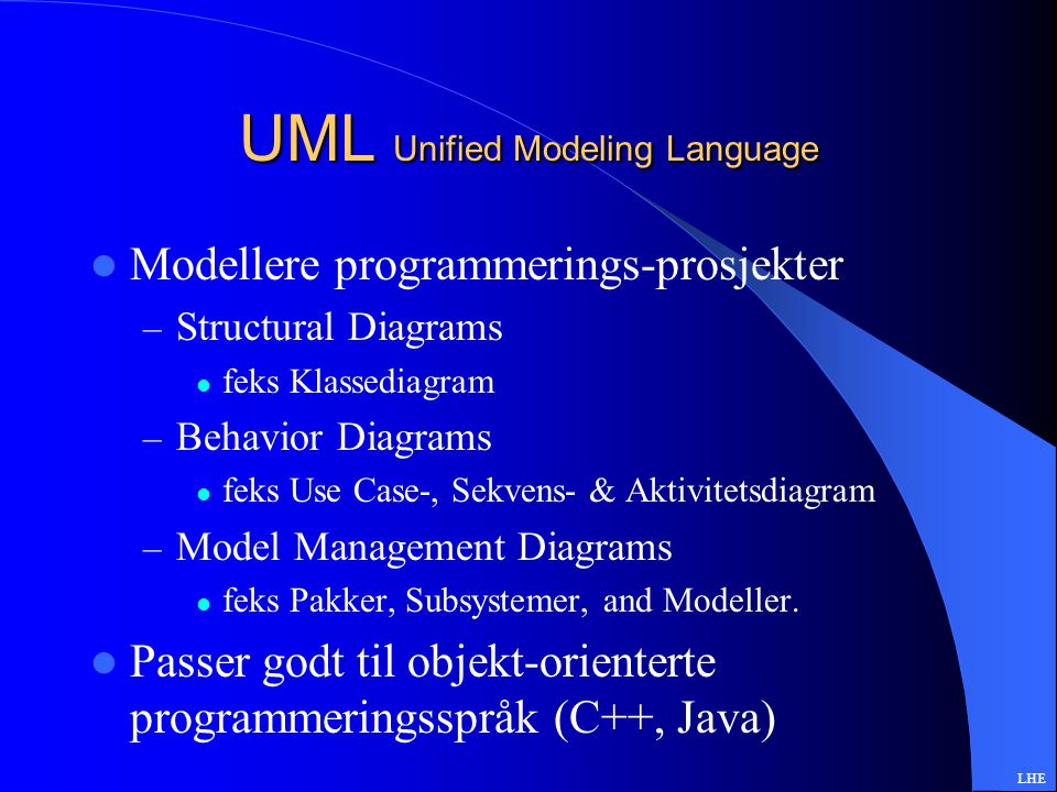 UML Unified Modeling Language Modellere programmerings-prosjekter – Structural Diagrams feks Klassediagram – Behavior Diagrams feks Use Case-, Sekvens- & Aktivitetsdiagram – Model Management Diagrams feks Pakker, Subsystemer, and Modeller.